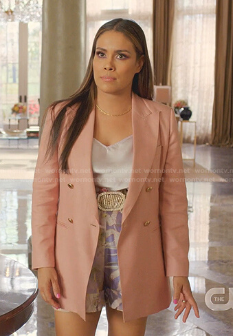 Cristal's pink double breasted blazer and lilac print shorts on Dynasty