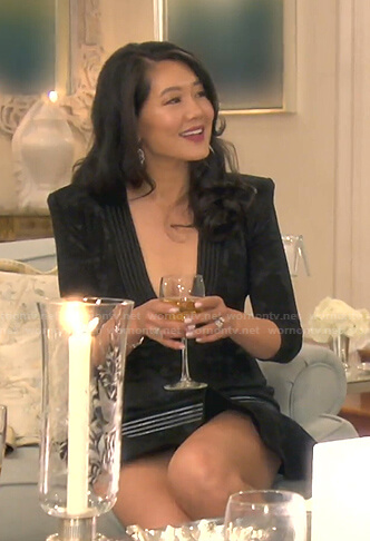 Crystal's black deep v-neck dress on The Real Housewives of Beverly Hills