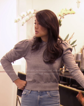 Crystal's grey puff sleeve hoodie on The Real Housewives of Beverly Hills