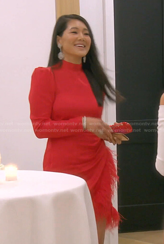Crystal's red feather-trim dress on The Real Housewives of Beverly Hills