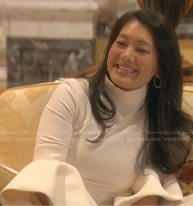 Crystal's white bell sleeve top on The Real Housewives of Beverly Hills