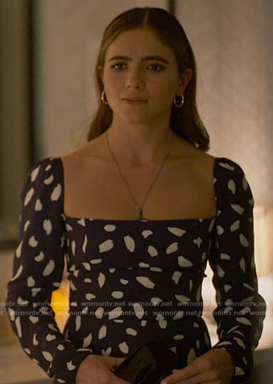 Dani's navy dotted square neck midi dress on The L Word Generation Q