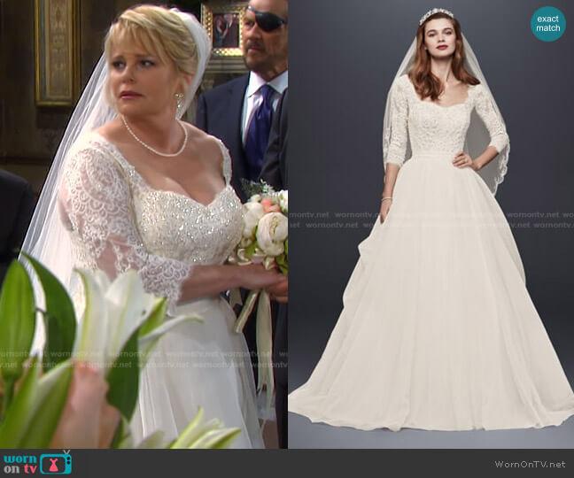 Organza 3/4 Sleeved Wedding Dress by Oleg Cassini  worn by Bonnie Lockhart (Judi Evans) on Days of our Lives