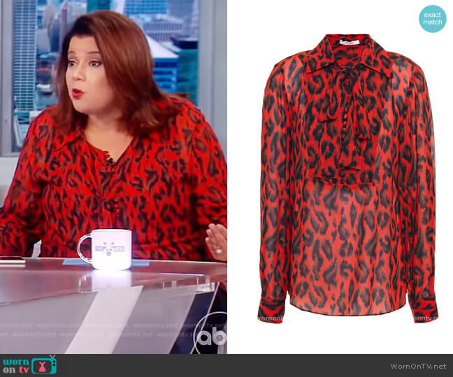 Pussy-bow leopard-print georgette blouse by Derek Lam 10 Crosby worn by Ana Navarro  on The View