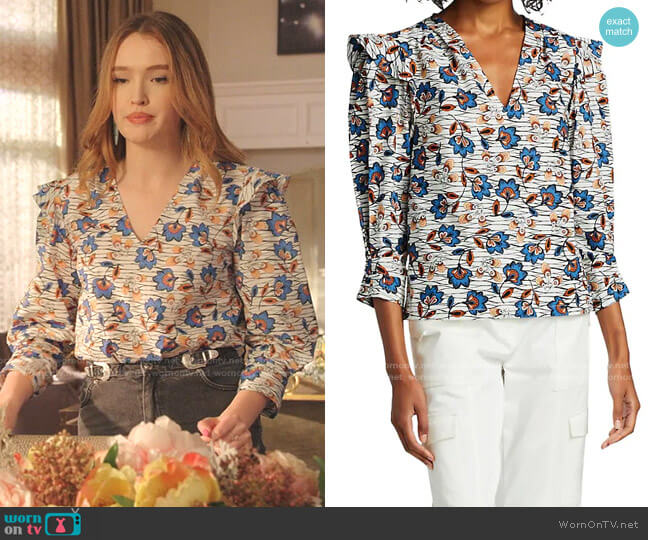 Oona V-neck Ruffle Blouse by Derek Lam 10 Crosby worn by Kirby Anders (Maddison Brown) on Dynasty