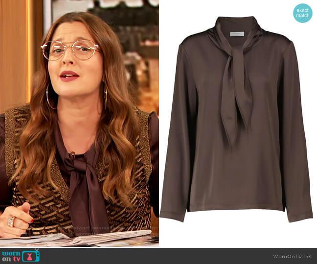 Jean Silk Tie-Neck Shirt by Deveaux New York worn by Drew Barrymore  on The Drew Barrymore Show