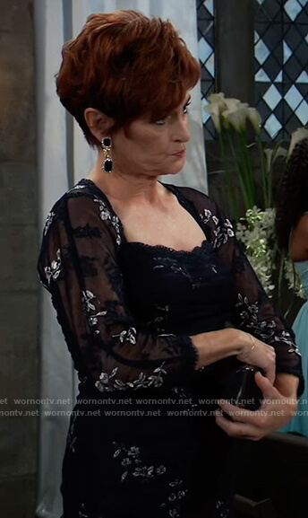 Diane's navy floral gown on General Hospital