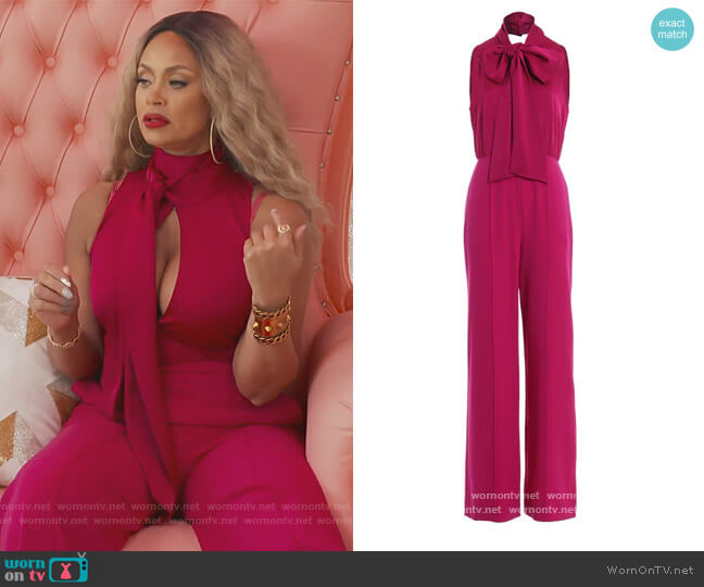 Fuchsia Acetate Jumpsuit by Diane von Furstenberg worn by Gizelle Bryant  on The Real Housewives of Potomac