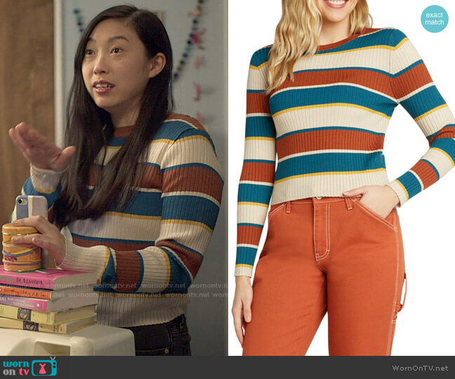 Dickies Striped Rib Crew Sweater worn by Nora Lum (Awkwafina) on Awkwafina is Nora From Queens