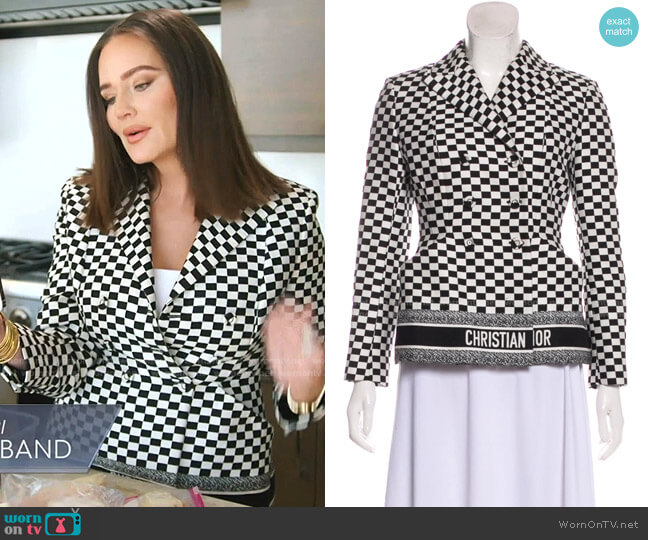 Checkered Blazer by Christian Dior worn by Meredith Marks  on The Real Housewives of Salt Lake City