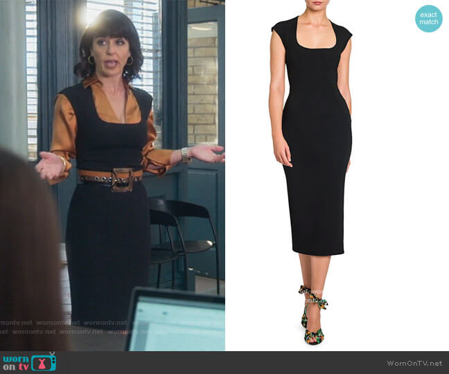 Cap-Sleeve Midi Dress by Dolce and Gabbana worn by Kathleen Gale (Constance Zimmer) on Good Trouble