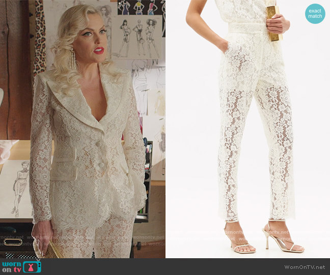 High-rise cotton-blend cordonetto-lace trousers by Dolce & Gabbana worn by Alexis Carrington (Elaine Hendrix) on Dynasty