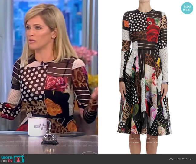 Patchwork A-Line Long Sleeve Midi Dress by Dolce and Gabbana worn by Sara Haines  on The View