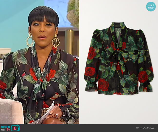 Pussy-bow floral-print silk-chiffon blouse by Dolce & Gabbana worn by Tamron Hall  on Tamron Hall Show