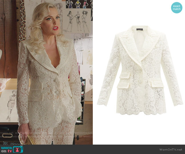 Single-breasted cordonetto-lace blazer by Dolce & Gabbana worn by Alexis Carrington (Elaine Hendrix) on Dynasty
