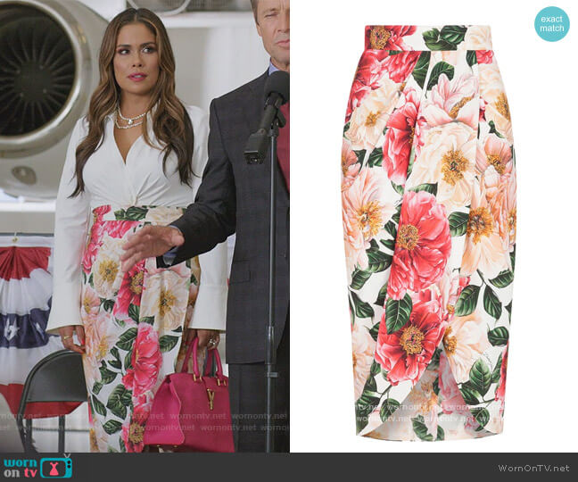 Floral print pencil skirt by Dolce & Gabbana worn by Cristal Jennings (Daniella Alonso) on Dynasty