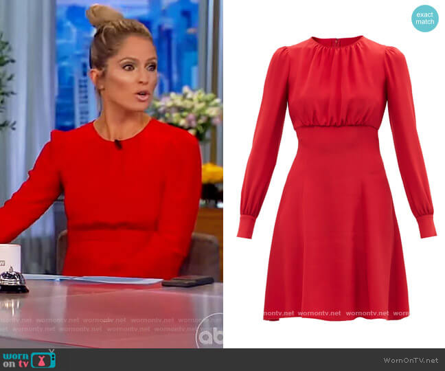 Gathered silk-cady midi dress by Dolce and Gabbana worn by Sara Haines  on The View