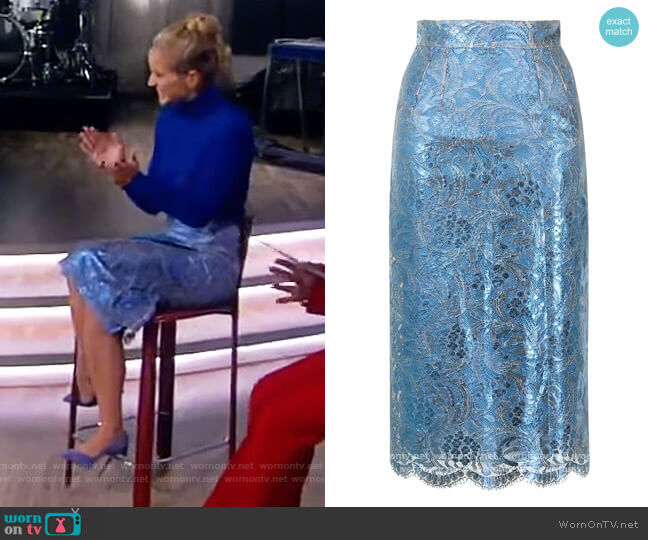 High-waisted lace pencil skirt by Dolce & Gabbana worn by Sara Haines  on The View