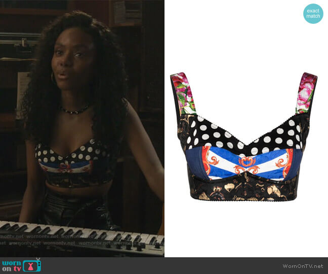 Patchwork-print Cropped Vest by Dolce & Gabbana worn by Josie McCoy (Ashleigh Murray) on Riverdale