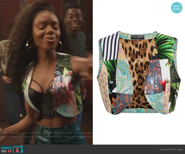 Patchwork vest by Dolce and Gabbana worn by Josie McCoy (Ashleigh Murray) on Riverdale