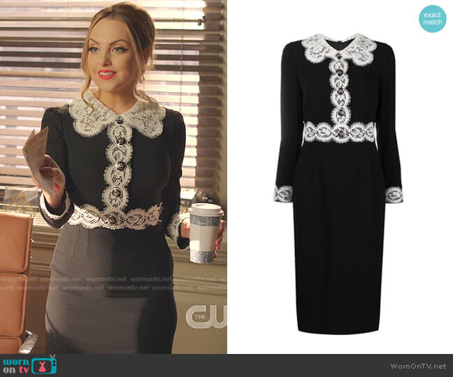 Cady Dress with Lace Detailing by Dolce & Gabbana worn by Fallon Carrington (Elizabeth Gillies) on Dynasty