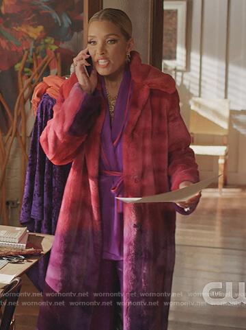 Dominque's purple piping trim kimono top on Dynasty