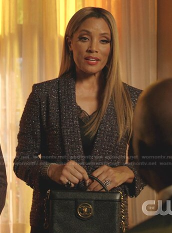 Dominique's tweed jacket and square shoulder bag on Dynasty