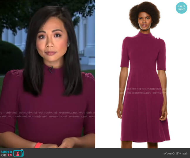Donna Morgan Stretch Crepe Military Detailed Shoulder Dress worn by Weijia Jiang  on CBS Mornings