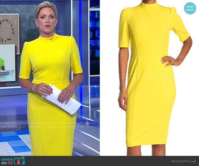 Stretch Crepe Mock Neck Button Dress by Donna Morgan worn by Jamie Yuccas on CBS Evening News