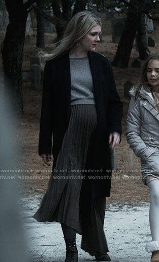 Doris's pleated midi dress with grey sweater on American Horror Story