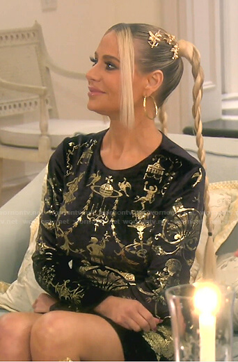 Dorit's black and gold print velvet dress on The Real Housewives of Beverly Hills