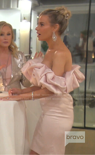 Dorit's pink ruffle off-shoulder dress on The Real Housewives of Beverly Hills