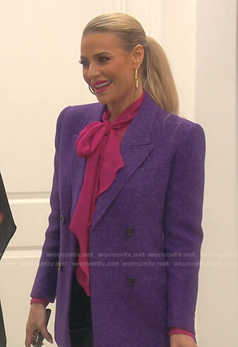 Dorit's pink tie neck blouse and purple blazer on The Real Housewives of Beverly Hills