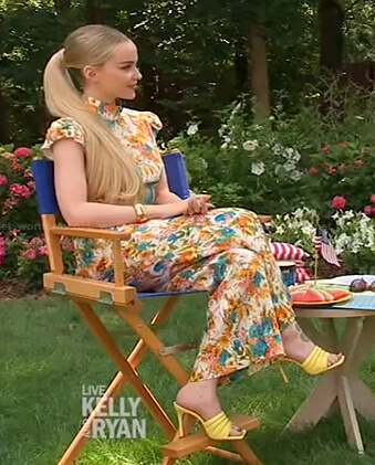 Dove Cameron's floral mock neck top and pants on Live with Kelly and Ryan