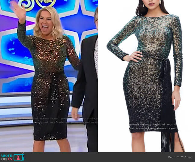 Dress the Population Caro Dress worn by Rachel Reynolds  on The Price is Right