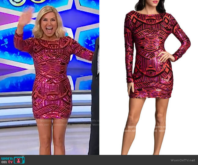 Dress the Population Red Rouge Multi Lola Dress worn by Rachel Reynolds  on The Price is Right