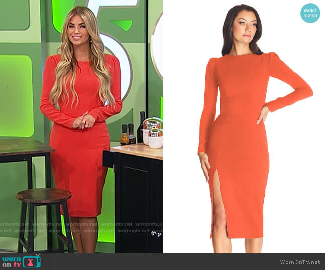Dress the Population Nadia Dress in Poppy worn by Amber Lancaster  on The Price is Right