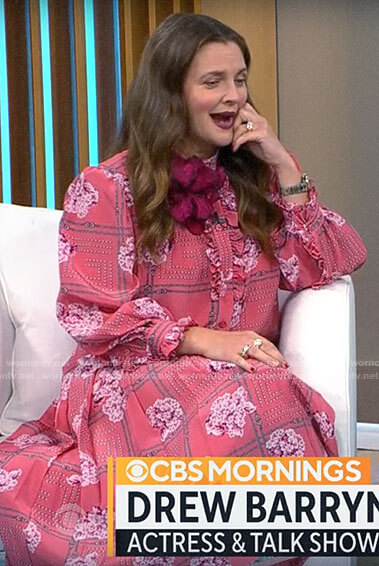 Drew Barrymore's pink printed blouse and skirt set on CBS Mornings
