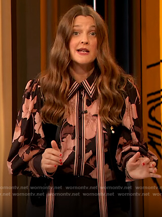Drew's black contrast floral blouse on The Drew Barrymore Show