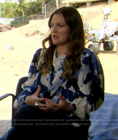 Drew's horse print drape blouse on The Drew Barrymore Show