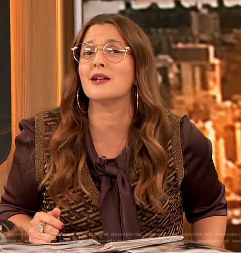 Drew's brown metallic printed vest on The Drew Barrymore Show
