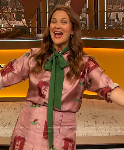 Drew's pink horse print blouse and skirt on The Drew Barrymore Show