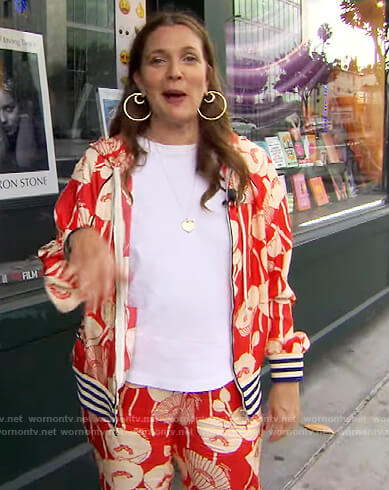 Drew's red floral hooded jacket and pants on The Drew Barrymore Show