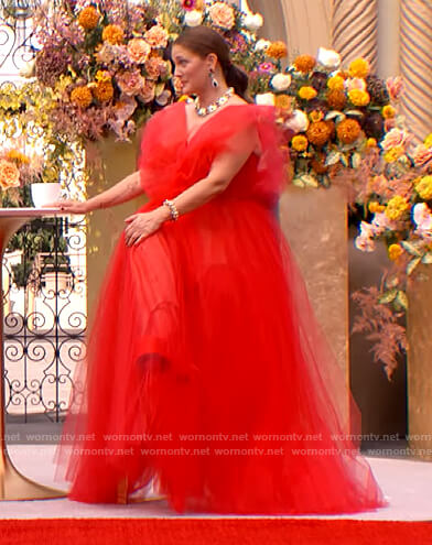 Drew's red tulle gown on The Drew Barrymore Show