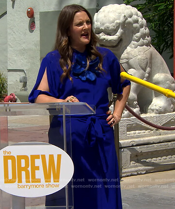 Drew's blue split sleeve dress on The Drew Barrymore Show