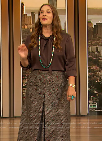 Drew's brown tie neck silk blouse on The Drew Barrymore Show