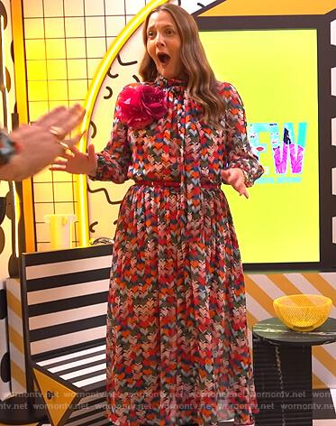 Drew's heart print midi dress on The Drew Barrymore Show