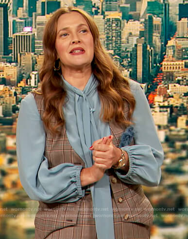 Drew's plaid vest and top on The Drew Barrymore Show