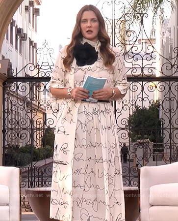 Drew's white scribble blouse and skirt on The Drew Barrymore Show