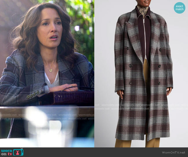 Dries van Noten Double-Breasted Plaid Wool Coat worn by Bette Porter (Jennifer Beals) on The L Word Generation Q